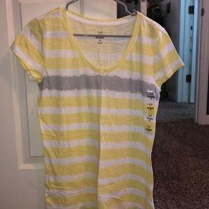 Brand new yellow striped tee shirt